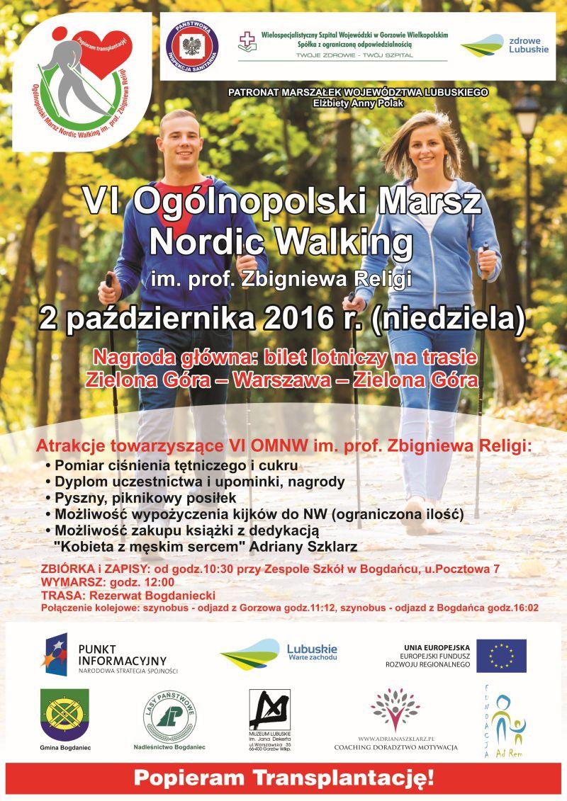 VI Ogólnopolski Marsz Nordic Walking im.prof.Zbigniewa Religi Popieram transplantację!
