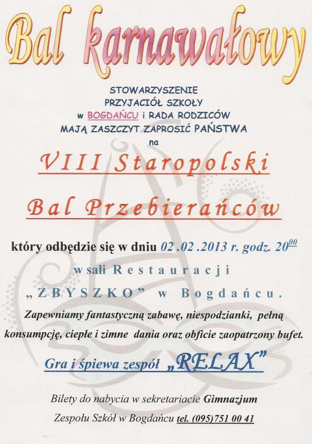 Zaproszenie Na Bal Karnawałowy Aktualności Urząd Gminy W Bogdańcu